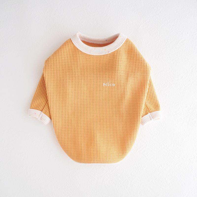 画像1: さらっとワッフルカットソー:おひさまオレンジ【名入れ無料】半袖/袖無しへの変更可◎ (1)