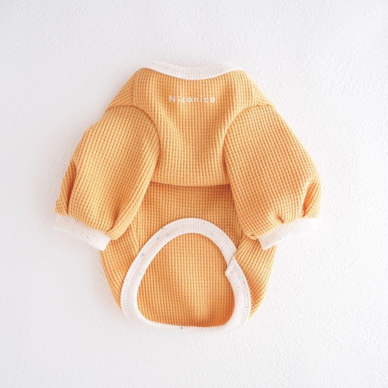 画像1: ぽわん袖 さらっとワッフルカットソー:おひさまオレンジ【名入れ無料】 (1)